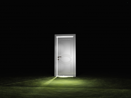 portal: Partly closed door emits light