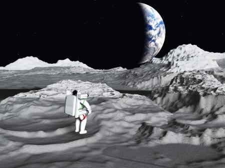 moon walker: Lunar astronaut views earth rise