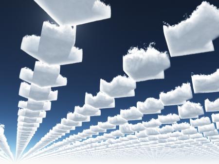 vision futuro: Flecha nubes Foto de archivo