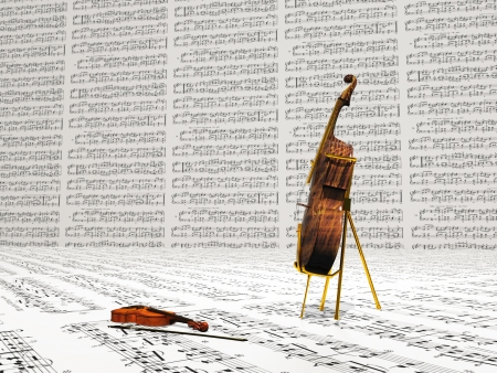 Violin and cello musical composition photo