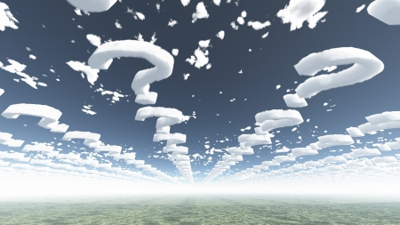 uncertainty: Clouds in shape of question marks
