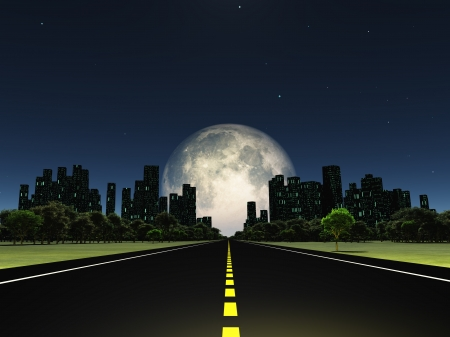 road scraper: Highway to city with large moon