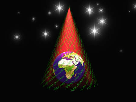 peace on earth: Christmas text and light in form of tree reveals earth with africa facing viewer Stock Photo