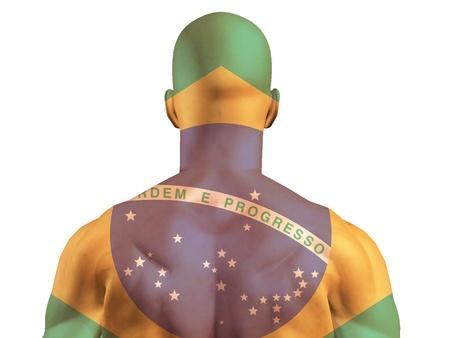 근육질 브라질 배너 그려진 남자