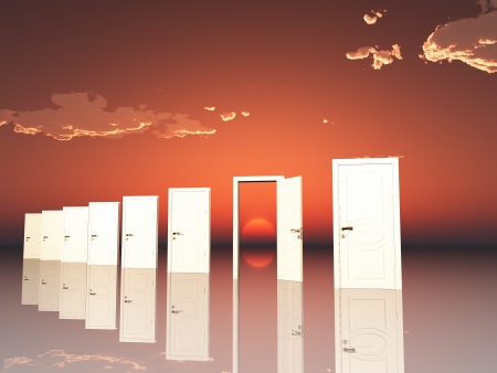 spiritual background: Sigle ope door in surreal landscape with setting or rising sun