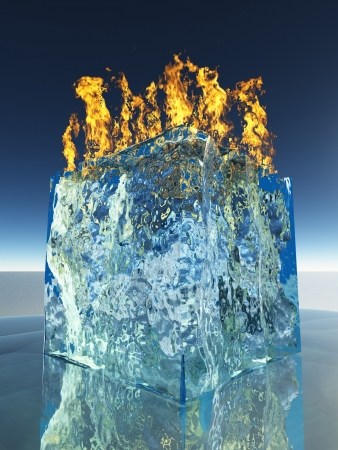 water cooler: Burning Ice Cube Stock Photo