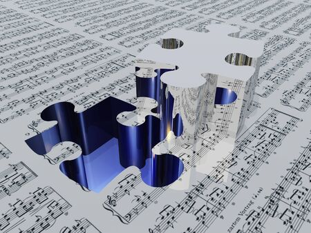 Puzzle piece and muic notation Sheet music is proviede with 3D software used to create this image and no realese is needed photo