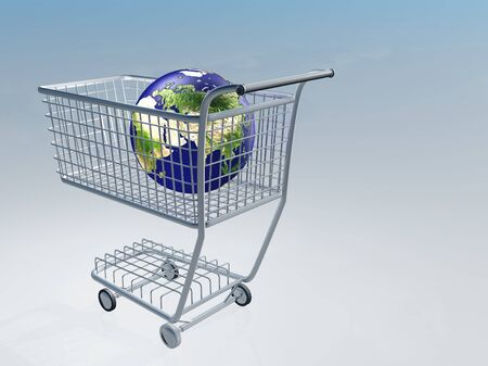 purchase order: Shopping cart holds earth Images used to create this image were furnished by NASA Stock Photo