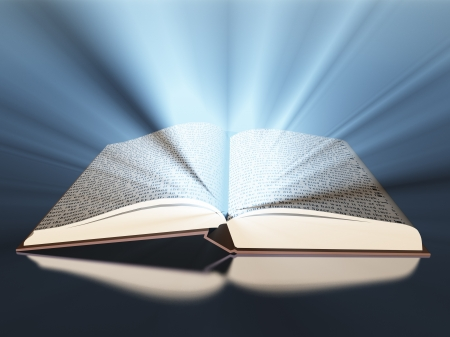 open diary: Book with light Stock Photo
