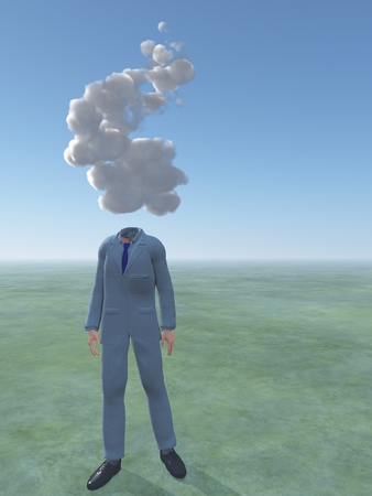 Man with cloud for head Stock Photo - 14841298