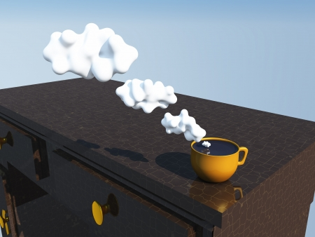 communicate concept: Cup with cloud thought bubbles