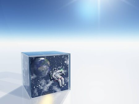 Astronaut and space captured in clear box in surreal scene