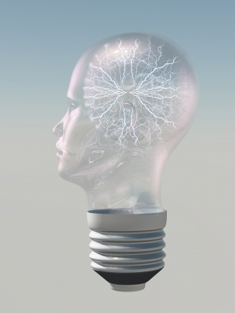 Light bulb in form of human head with electric arc inside photo