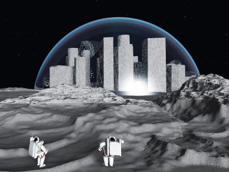 futuristic city: Lunar city and astronaut
