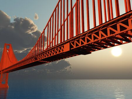 suspension bridge: Golden Gate Bridge 3D Illustration