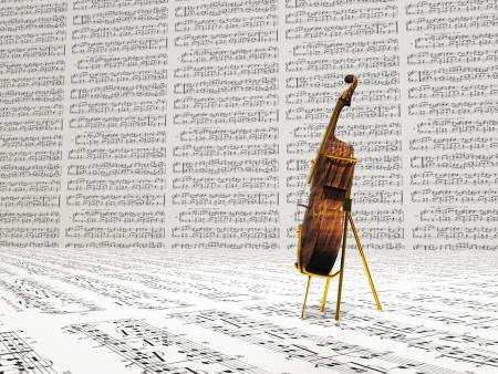 チェロと音楽の表記法の背景 写真素材