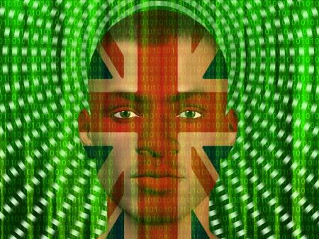 british culture: UK man with streaming binary Stock Photo