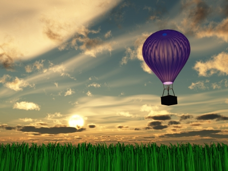 Hot Air Balloon Sunset or sunrise photo