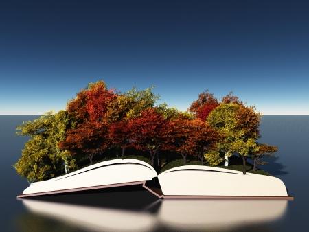 Autumn trees on book photo
