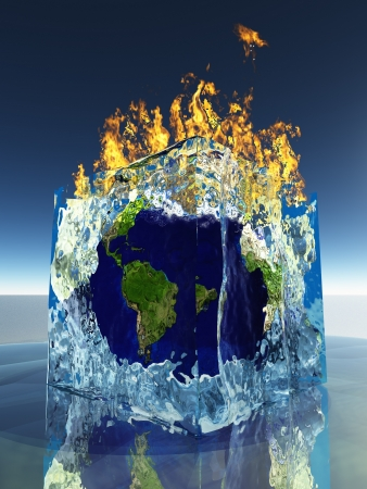 greenhouse and ecology: Earth inside ice cube being consumed by fire Stock Photo