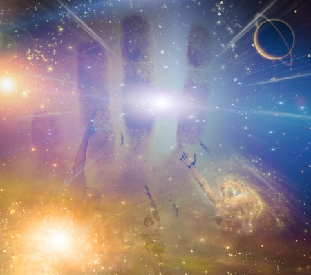 mind body soul: People soaring toward light amongst stars
