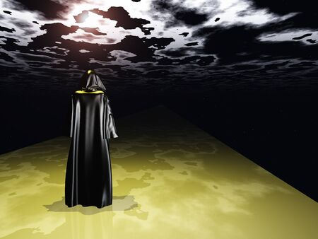 fantasy world: Cloaked Man before the darkness