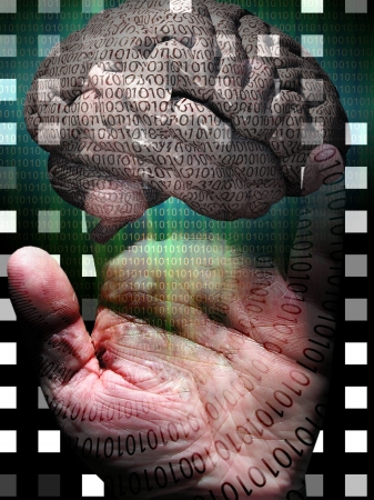 Human Binary Hand and Brain photo