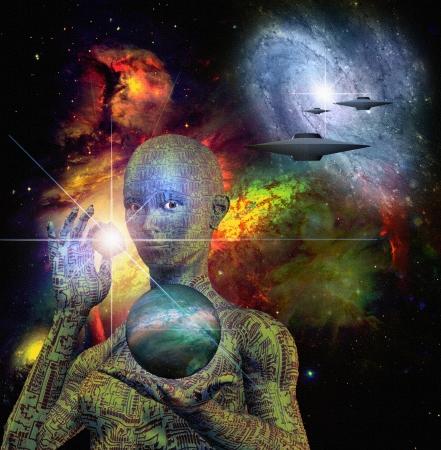 sci: Sci Fi Escena con Android Foto de archivo