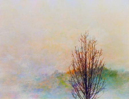 countryside landscape: Autumn Landscape Painting Stock Photo