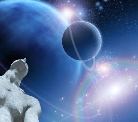 Figure gazes upward toward planets photo