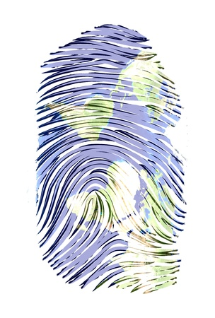 World Map finger print  photo