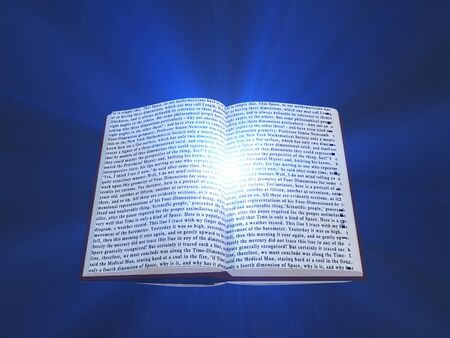 Book with floating text and light photo