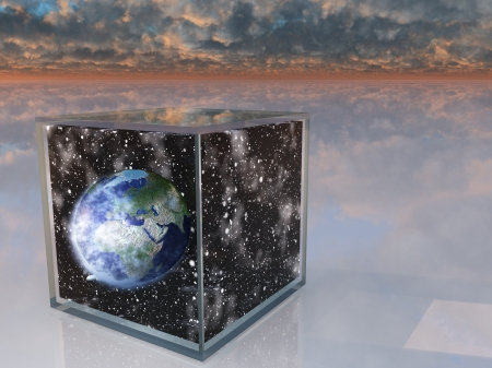 Planet eart and space inside box in surreal scene