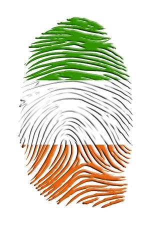 Ireland Flag finger print isolated on white Stock Photo - 14934330