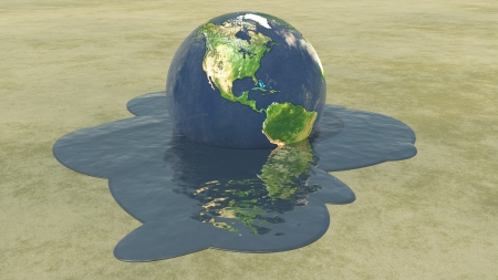 Earth melting into water Stock Photo - 14934340