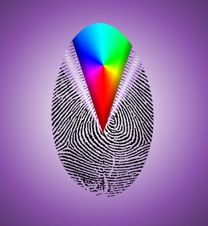 forensics: Rainbow Fingerprint Stock Photo