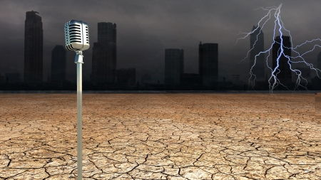 Microphone in Dystopic world photo
