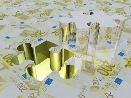 credit union: Puzzle piece Euro Stock Photo
