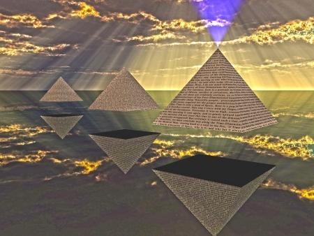 triad: Triad of floating Pyramids  Stock Photo