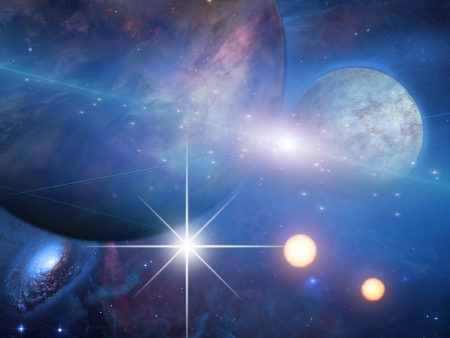 galactic: Planets and suns Stock Photo