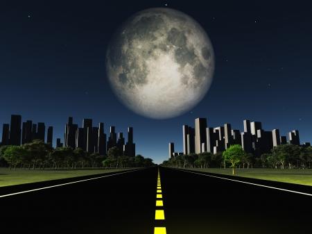 大きい月の都市に高速道路
