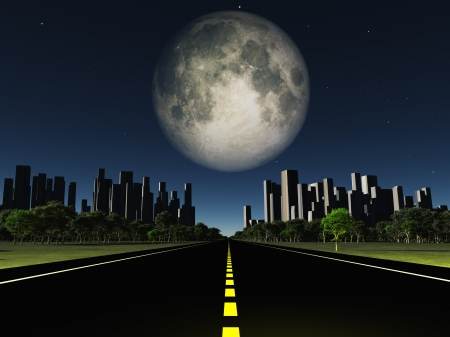 night road: Highway to city with large moon