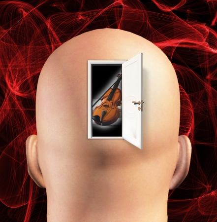 Door to mind reveals violin photo