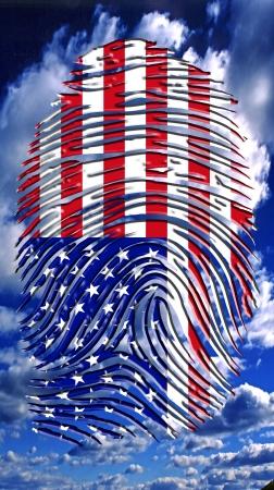 bandera estados unidos: EE.UU. huellas dactilares Foto de archivo