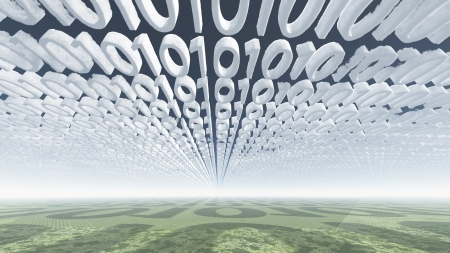 Binary code clouds photo