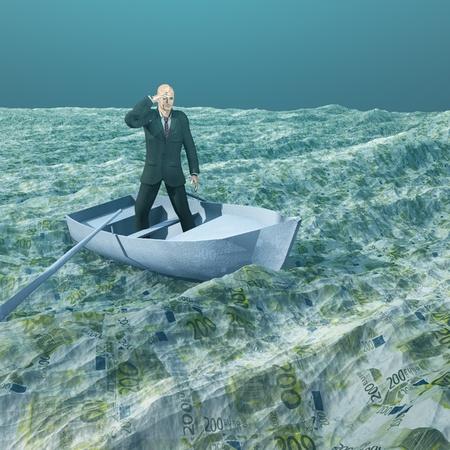 �ber Wasser: Man flott in winzigen Boot auf dem Meer der W�hrung