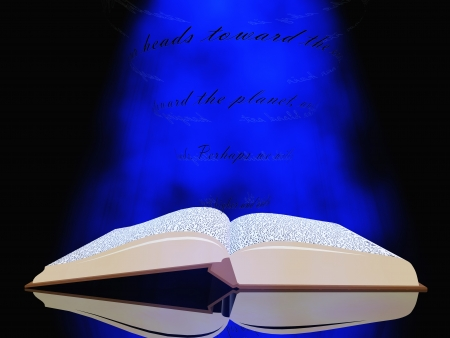 novels: Book with floating text and light
