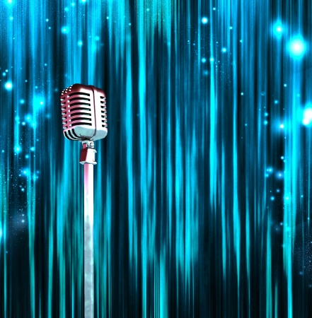 singer with microphone: Classic Microphone with Colorful Curtains Stock Photo