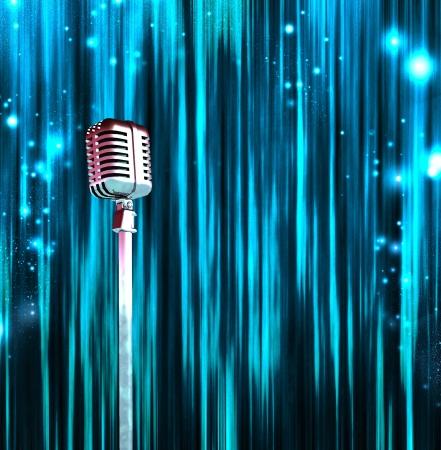 Klassieke Microfoon met kleurrijke gordijnen Stockfoto