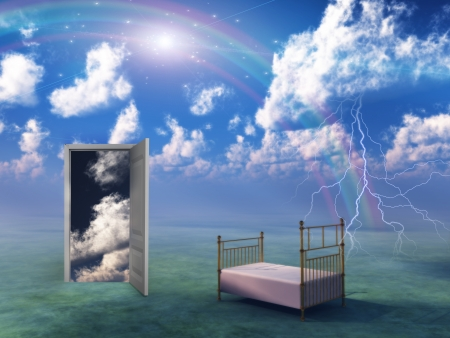 Bed in fantasy landscape photo